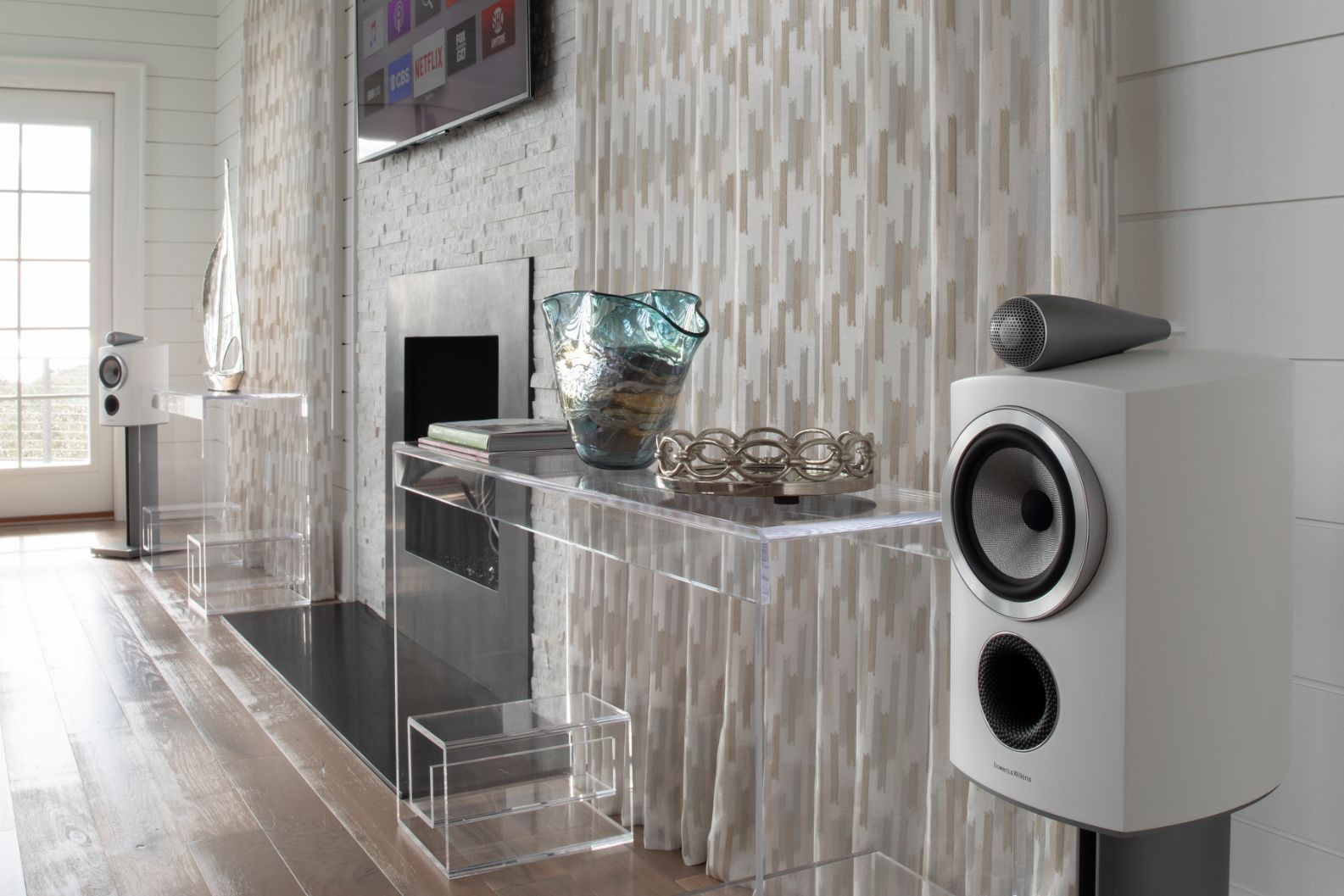 White B&W Bookshelf Speakers